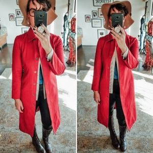 GAP Long Red Button Up Trench Style Jacket Coat